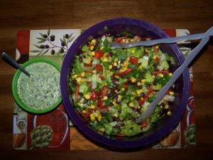 Southwestern Chopped Salad with Cilantro Dressing. Adapted with permission from The Garden Grazer.  Photo: Cathy Rueter ©2015